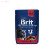 Brit Premium Cat 100 g alutasakos marha+zöldborsó