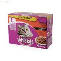 Whiskas 12 pack alutasakos adult húsos